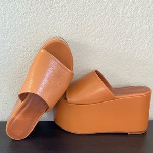 SIMON MILLER High Platform Sandals in Cognac Sz 37